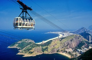 Photo of Rio de Janeiro cable car and city in background goes here.
