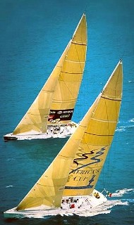 Photo of two yachts racing goes here.