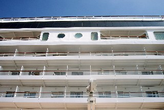 Photo of ship's balconies goes here.