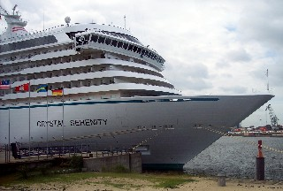 Photo of the bow of Crystal Serenity is shown here.