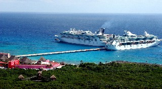 Aerial Photo of Costa Maya with docked ships goes here.