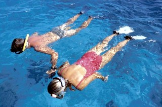 Photo of snorkelers in Bonaire goes here.