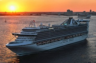 Photo of Caribbean Princess sailing from Fort Lauderdale at sunset goes here.