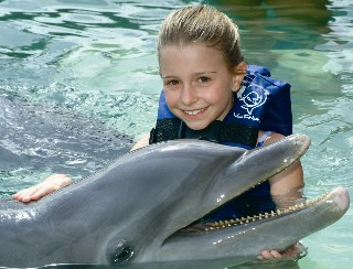 Photo of Dolphin Experience (little girl with dolphin) is shown here.