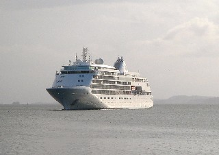 Photo of the Silver Shadow anchored in Gatun Lake goes here.