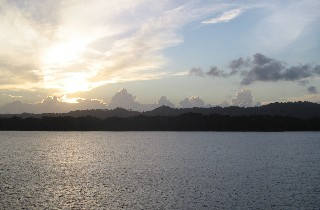 Photo of the Gatun Lake at sunset goes here.