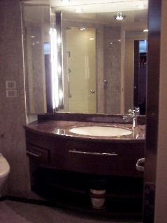 Photo of bathroom in the Penthouse suite.