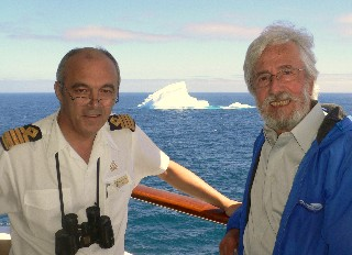 Photo of Captain with Jean Michel Cousteau and iceberg goes here.