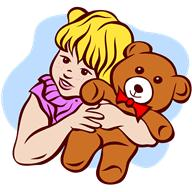 Drawing of young girl and teddy bear goes here.