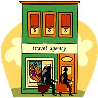 Drawing of travel agency office goes here.