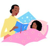 Drawing of child at bedtime with mother reading a storybook goes here.