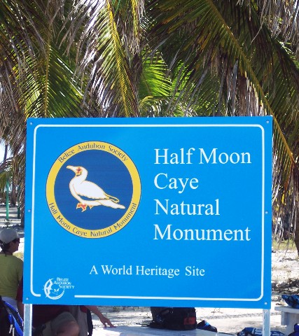Photo of the Half Moon Caye sign goes here.