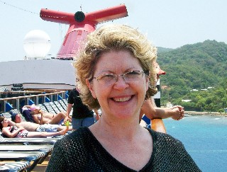 Photo of Shelley atop the Carnival Legend goes here.