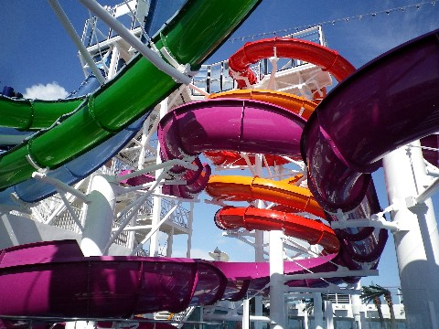 Photo of water slides on Norwegian Getaway goes here.*