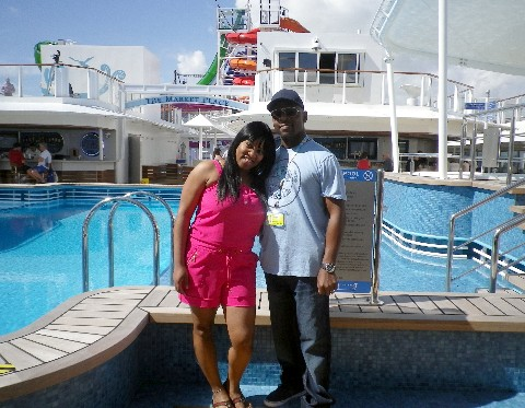 Photo of Shaiy Howard and her husband onboard Norwegian Getaway.*