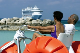Photo of couple on an Aqua Bike at CocoCay goes here.