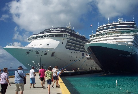 Photo of Costa Atlantica and Nieuw Amsterdam at Grand Turk Cruise Center goes here.
