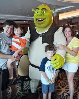 Photo of the Dinnigans at the Shrek Character Breakfast goes here.*